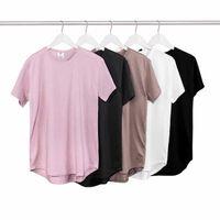 Wholesale Wholesale Cheap White Polyester Shirts - Wholesale-2016 Summer Pure T-shirt pink black Wholesale Extended Long T shirt Mens Hip Hop New design Street Men Cheap T shirt Hot sell
