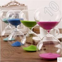 Wholesale Clocks Count Down Time - 60pcs CCA4086 High Quality Fashion Style Glass 15 Minutes Sandglass Time Counter Count Down Timer Hourglass Clock Creative Gift Home Decor