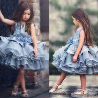 çiçek aplike gelin elbisesi toptan satış-Tutu Kısa Boncuk Balo Çiçek Kız Elbise Dantel Aplikler Abiye Tüy Gelinlik Küçük Gelin Için