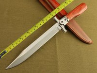 Wholesale Locking Blade Knives - Free Shipping New 12'' 440 Blade Survival Bowie Large Wood Handle Botton Lock Folding Knife VTJF01