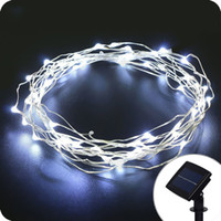 Wholesale wire garland decorations - Solar LED Garlands String Lights 10M 33ft 100led Solar Copper Wire Light White Yellow Outdoor waterproof Fairy Lights Christmas Decoration