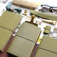 Atacado - Fromthenon Travelers Notebook Olive Olive Green Leather Planner 2017 Nota de couro de vaca para Midori Diary Travelers Personal Journal