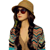 Wholesale Cheap Summer Hats For Girls - Wholesale-Hot New Fashion Women Ladies Summer Hats Girls Casual Floppy Straw Sun Hat Striped Caps Bohemia Beach Hats For Women Cheap Z1