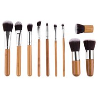Wholesale Makeup Brushes Pure Hair - Cosqueen New Arrival High Quality Wood handle Makeup Cosmetics Beauty Tool 11 Pcs  Set Wool Brush Set With Pure Color Pouch