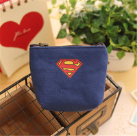 Wholesale Boy Batman Shorts - Avengers party Captain America Purse Superman Batman Transformers Kids coin purses canvas keychains coin change pocket Card holder B878