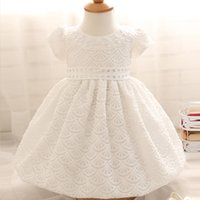 Commercio all'ingrosso-Nuovo 2016 Bianco e Giallo Baby Girl Abiti da Battesimo Robe Bapteme Fille 1 Anno Compleanno Infant Girl Party Dress