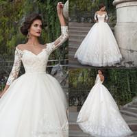 Wholesale Da Sposa - Elegant Arabic Wedding Dresses Turkey Vestidos de Noivas 2017 Lace Bride Dress Princess Wedding Gowns 3 4 Sleeves Abiti Da Sposa Vestidos