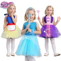 Wholesale Dancing Costumes Kids - Baby girls snow White Belle Rapunzel princess apron TuTu dress Elsa Anna Dance clothes pinafore Kids Halloween costume 6 styles C2473
