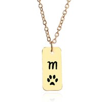 Wholesale mark chain - Mother's Day Gift Letter M Engraved mother necklace Dog Pet Puppy Palm Paw Mark Print Dog Tag Pendant Necklaces 5