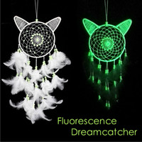 Wholesale fluorescence bead resale online - Party Decoration Fluorescence White Cat Handmade Dream catcher Net with Bead Feather Wind Chimes Wall Hanging Decoration Luminous Regalo