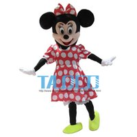 Wholesale Pink Minnie - Hot Sale! Red Minnie Mouse mascot costume, Adult Size Fancy Dress Holloween Costume,EPE Head + Free shipping