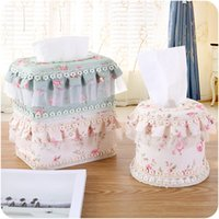 Wholesale Paper Lace Roll - Wholesale- 3Pcs Set Multi-Function Lace Tissue Box Napkin Holder Toilet Stand Tissue Box Room Paper Towel Napkin bag Household Supplies