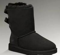 büyük çizmeler siyah kadınlar toptan satış-Noel hediyesi bayan botları BAILEY YAY Çizmeler kadınlar için kış Kar Botları kestane Çikolata gri siyah mavi gül 9 renkler büyük boy xmas