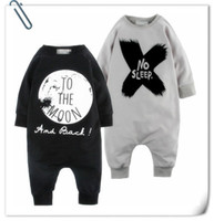 Wholesale Long Sleep Baby Suits - 2015 New Baby romper suit Cotton long sleeve letter NO SLEEP Printing rompers boys girls costumes Toddlers bodysuits tights sets