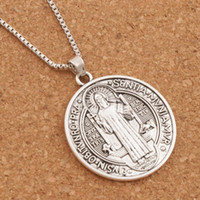 Wholesale Necklace Big Cross Pendant - 20pcs lot Saint St Benedict of Nursia Patron Against Evil Cross Medal 35x31mm Big Pendant Necklac N1646 24 inches Chains