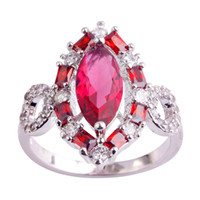 Wholesale Ruby Spinel - AAA CZ Lab Wholesale 18K White Gold Plated Silver Rings Ruby Spinel Size 6 7 8 9 10 11 Red Gems Women Jewelry Free Shipping