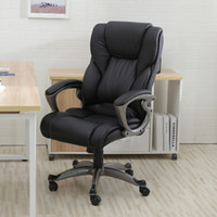 Wholesale computer chairs ergonomic - Black PU Leather High Back Office Chair Executive Task Ergonomic Computer Desk