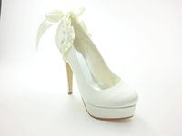 Wholesale Satin Bridal Platform - White Color Platform Pump 10cm Heel Style Bridal Shoes Wedding Dress Shoes Handmade Shoes for Wedding Prom Party Shoes Rhinestones