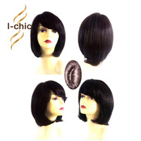 Acheter Femmes droites perruques de cheveux humains-Full Lace Hair Hair Perruques pour Black Women Brazilian Short Straight Wig Natural Short Bob Glueless Lace Front Cheveux Humains Perruques