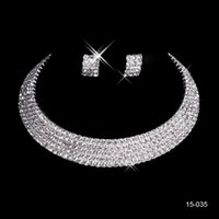 Wholesale bridal sets wedding rings - Cheap 15035 Sparkly Beaded Bridal Jewelry With Earring Holy Rhinestone Crystal Flower Earring Necklace Set Bridal Party Wedding Occasion