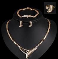 Wholesale Cheapest 14k - Diamonds alloy wedding jewelry cheap vintage rhinestone necklace elegant jewelry earring+necklace+brooch+Bracelet Set