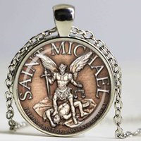 Wholesale Michael Necklace - Saint Michael Patron of Police officers Shield Glass Dome Pendant Necklace DIY Fashion Academy Jewelry Charm Trendy Gift