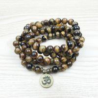 Wholesale Wrap Bracelet Natural Stones - SN1148 Fashion Tiger Eye 108 Mala Bracelet Om Buddha Bracelet or Necklace Yoga Bracelet 4 Wrap Natural Stone Bracelet