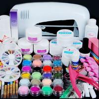 Wholesale Uv Lamp Acrylic Powder Kit - 9w Uv Lamp Acrylic Nail Gel Manicure Set Nails Art Uv Gel Kits Sets Tools Brush Tips Glue Glitter Powder Base Top Coat Cleanser 160721#