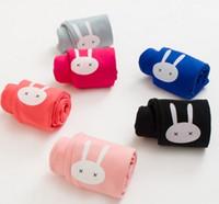 lolita çizgi filmleri toptan satış-2016 Sonbahar Çocuk Kız Bunny Baskılı Kadife Tayt Çocuklar Şeker Renk Katı Karikatür Ince Tayt Kız Legging B4194 Giymek