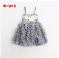 Wholesale Girls Floral Clothing - Baby Girls Lace tutu Party Dresses Kids Girls Princess Floral Dress 2017 Babies Autumn Christmas Clothing children's clothes