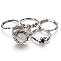 Wholesale Trendy Antique Ring - European Trendy 5PCS Ring Set Antique Silver Plated Geometric Faux Stone Leaf Knuckle Ring For Women