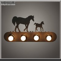 Wholesale Horse Wall Lights - Modern Metal wall lamp creative Horse wall sconces light fixture for staircase hallway living room Bedroom fast shipping MD81721