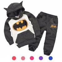 sonbahar çocuğu giyim toptan satış-Hoodie + pantolon Iki parça Çocuk Giyim Setleri Bahar Sonbahar Bebek Erkek Kız Giyim Setleri 1-6 T Çocuk Giysileri