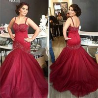 Wholesale Stunning Girls Summer Dress - 2016 Stunning Red Burgundy Crystal Beaded Mermaid Prom Dresses Sexy Plus Size 2K16 Pageant Formal Special Evening Party Gowns For Girls