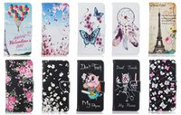 Wholesale Iphone Wallet Eiffel - Fashion Eiffel Tower Wallet Leather Case For Iphone 7 4.7 Plus  6 6S 5.5 SE 5 5S Dreamcatcher Flower Butterfly Skull Cartoon TPU Flip Cover