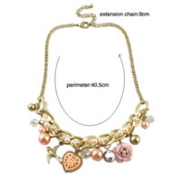 Wholesale Gold Coin India - Fashion Jewelry Gold Plated Imitation Pearl And Flower Decoration From India Statement Necklace for Women 2015