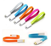 Wholesale Wholesale Flat Magnet - Magnet Micro USB Data Sync Cable Magnetic Cables 22cm Flat Short Line Charger For Samsung GalaxyS4 S3 S2 Note2 HTC Phone 05