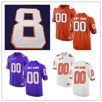 Mens Maillots de Football College Clemson Tigers # 13 Hunter Renfrow # 5 Tee Higgins # 8 Deon Cain # 34 Ray-Ray McCloud Violet Orange Blanc S-3XL