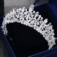 Wholesale big crown wedding - Gorgeous Princess 2018 Big Wedding Crowns Bridal Jewel Headpieces Tiaras For Women Silver Metal Crystal Rhinestone Baroque Hair Headbands