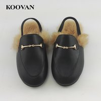 Wholesale slippers plush children - Koovan Children Fur Shoes Spring Hot Selling Girls Slippers Rabbit Hair Parent child Plush Shoes Leather Warm Sandals