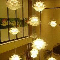 Wholesale Excelvan DIY Modern Pinecone Pendant light Creative Lily Lotus Novel LED e27 cm Puzzle Lamp Lotus Chandelier White lt no tracking