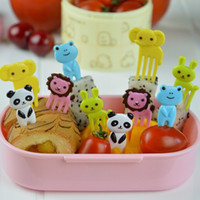 Wholesale Kawaii Plastic Food - 100set 20Pcs set Food Fruit Picks Fork Kawaii Animal Mini Farm Cartoon Plastic Toothpick Children Lunch Box Bento Cupcake Decoration ZA0534