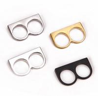 anillo doble simple al por mayor-2016 moda doble dedo anillos estilo simple negro oro plata dos dedos anillo para mujeres y hombres
