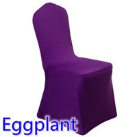 Wholesale Eggplant Chairs - spandex chair cover eggplant colour flat front lycra stretch banquet chair cover for wedding decoration wholesale on sale