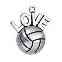 voleybol kolye takılar toptan satış-Antik Gümüş Kaplama I Love Voleybol Kolye Kolye Spor Fan Charms DIY Toptan Takı 10 adet