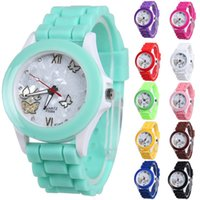 Wholesale Logo Geneva - Speed to sell through the Geneva silica gel watch silicone gift watch students watch no LOGO Geneva Watch