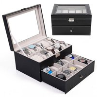 Wholesale Jewelry Box Watch Storage - 20 Slot Watch Box Leather Display Case Organizer Top Glass Jewelry Storage Black