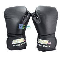 Wholesale Grappling Gloves - 2016 Free Shipping Adult MMA Sparring Grappling Sanda Training Boxing Gloves Black
