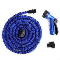 schlauch für garten großhandel-Gartenschlauch 25FT 50FT 75FT 100FT flexibler X-Garten-Wasser-Schlauch mit Spritzpistole-Autowäsche-Rohr-einziehbarem Bewässerungs-teleskopischem Gummischlauch