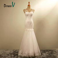 Wholesale Ready Made Gowns - Ready To Shipping Mermaid Wedding Dresses 2016 Sexy Sheer V-Neck Beading Crystal Vintage Cheap Bridal Gowns Floor Length free shipping